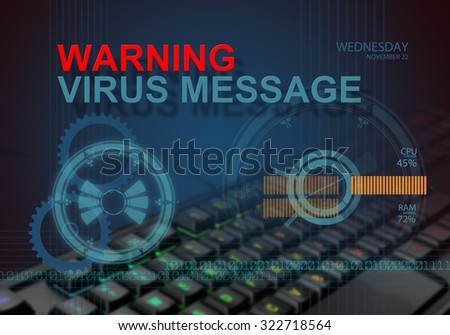 hi tech infographics of warning virus message made in 3d software - stock photo