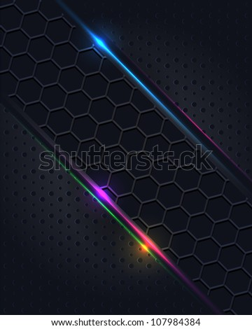 Hi-Tech Metallic Background Design - stock photo