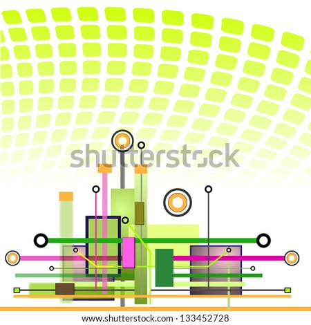 Hi-tech Technology Background | Futuristic Vector Template. Raster version. - stock photo