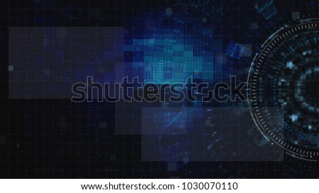 Hi-tech user interface head up display with digital floating particles for background computer desktop screen display