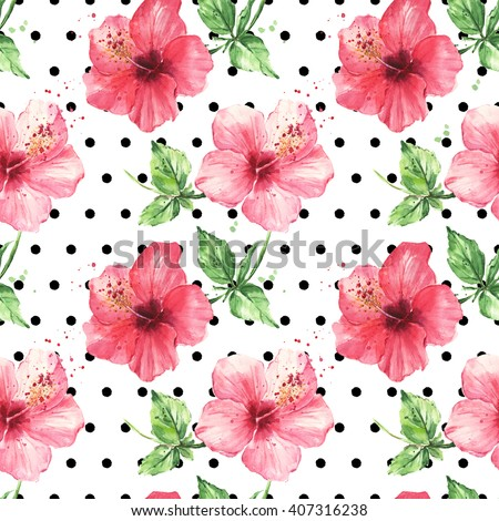 Hibiscus flowers on the polka dot white background. Watercolor seamless floral pattern - stock photo