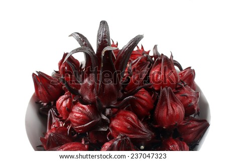 Hibiscus sabdariffa or roselle fruits isolated on white background