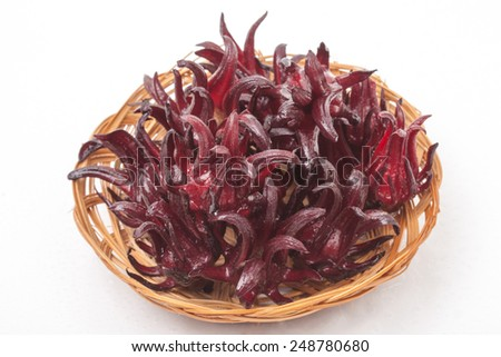 Hibiscus sabdariffa or roselle fruits on a white background - stock photo