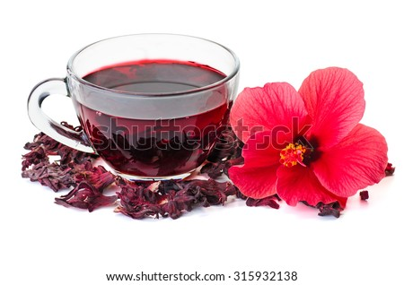 Hibiscus tea,  flower and dry blossom isolated on white background - stock photo
