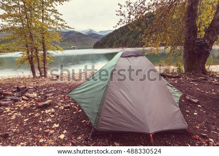 Hicker's tent in the mountains