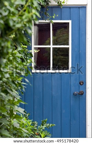 Hidden blue door with a window on it with running plants in the foreground