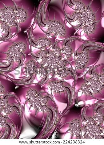Hidden brown eyes in fuchsia texture - fractal design background - stock photo