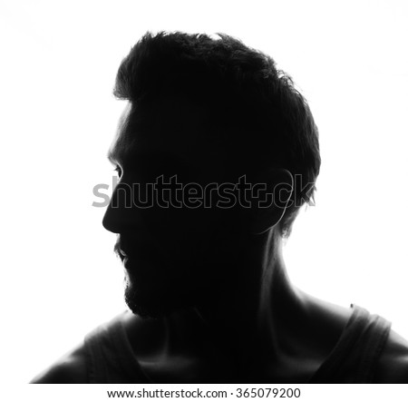 Hidden face in the shadow.male silhouette.