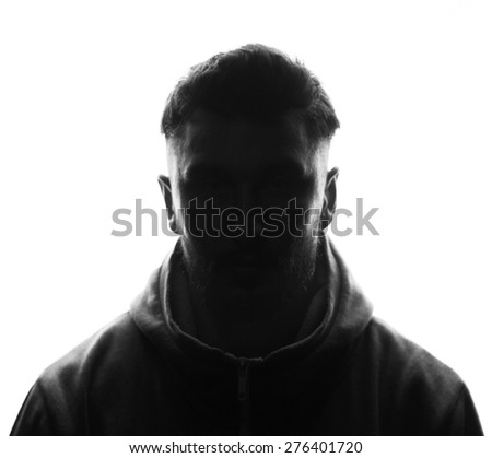 Hidden face.silhouette studio shot isolated on white - stock photo