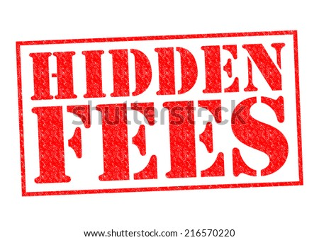 HIDDEN FEES red Rubber Stamp over a white background. - stock photo