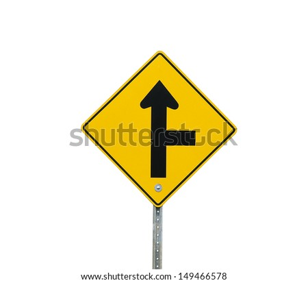 hidden intersection ahead sign on a white background - stock photo
