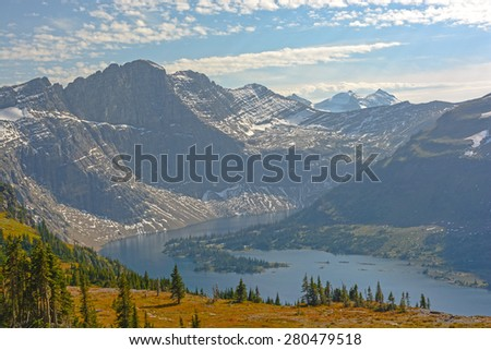 Hidden Lake in Late Afternoon Light In Glacier National Park in Montana - stock photo
