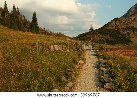 Hidden Lake Nature trail at Logan Pass - stock photo