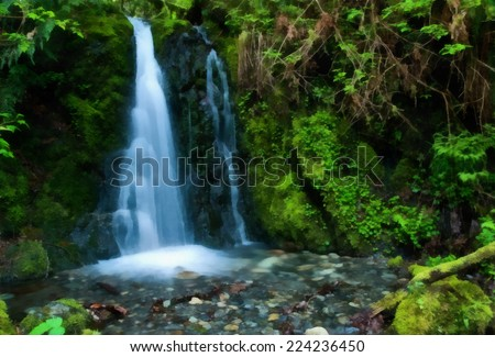 Hidden Spring Waterfalls in Goldstream Provincial Park, Vancouver Island, British Columbia, Canada. Stylized as paintings. - stock photo