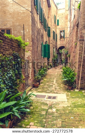 Hidden streets of the ancient city of Siena, Italy