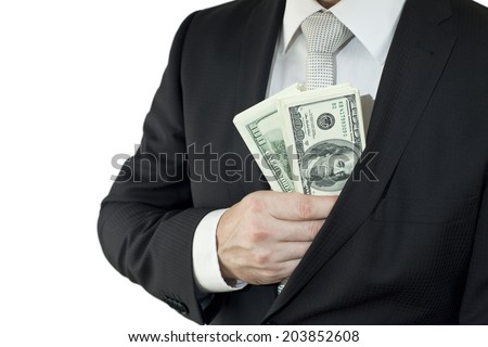 Hide money in the pocket - stock photo