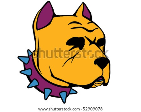 hideous Pit-bull head illustration on isolated white  background - stock photo