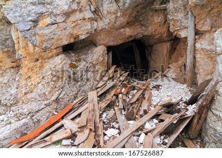 Hiding places used by the army in the world war one battles, Dolomite Alps, Italy