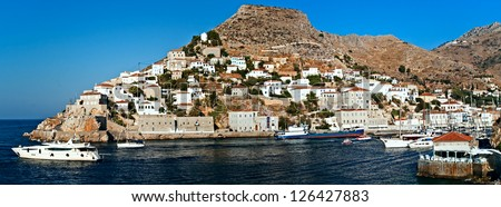 Hidra island,  Saronic Islands, Greece, harbour (2) Hydra  is one of the Saronic Islands of Greece, located in the Aegean Sea between the Saronic Gulf and the Argolic Gulf.