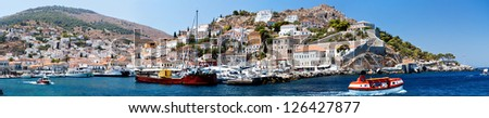 Hidra island,  Saronic Islands, Greece, harbour, panoramic view Hydra  is one of the Saronic Islands of Greece, located in the Aegean Sea between the Saronic Gulf and the Argolic Gulf.