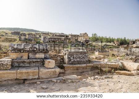 Hierapolis (Pamukkale), Turkey. Archaeological area  in the ancient necropolis, 2nd century BC - 15th century AD