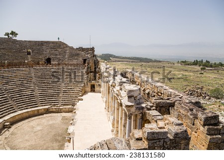 HIERAPOLIS, TURKEY - JUNE 27, 2014: Photo of restored the structural elements of the Roman theater