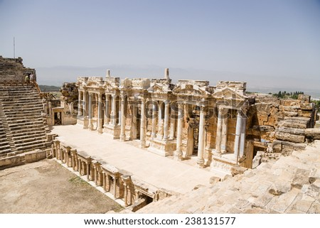 HIERAPOLIS, TURKEY - JUNE 27, 2014: Photo of skene of ancient theater, 1 - 4 centuries AD