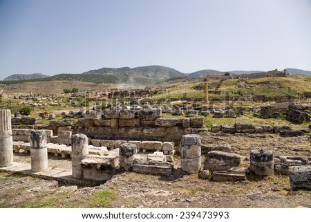 Hierapolis, Turkey. Marble columns of the portico, the first half of I century AD. UNESCO list