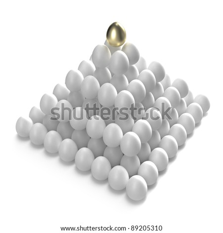 Hierarchy and management: golden egg at the top of the other ones - stock photo