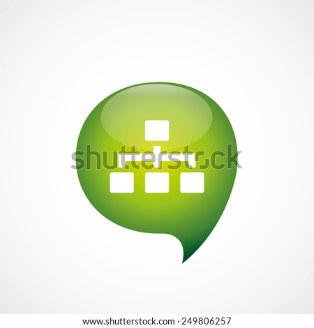 hierarchy icon green think bubble symbol logo, isolated on white background