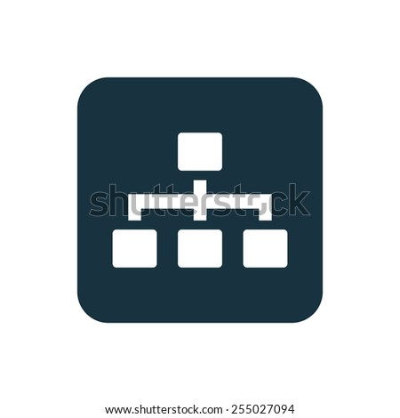 hierarchy icon Rounded squares button, on white background  - stock photo