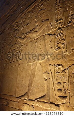 Hieroglyphics at Night, Luxor Temple, Luxor, Egypt - stock photo