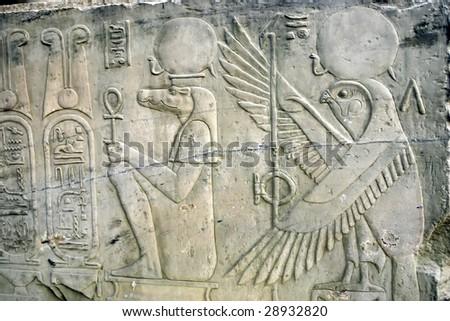 Hieroglyphics in Egypt - stock photo