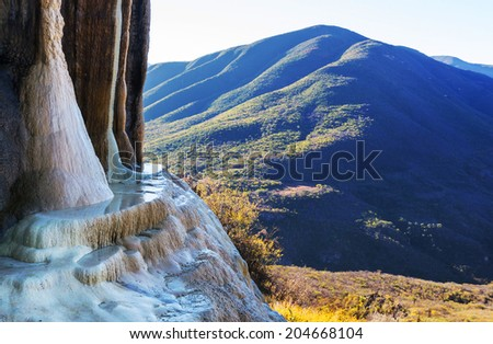 Hierve el Agua, natural rock formations in the Mexican state of Oaxaca - stock photo