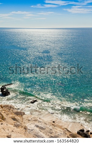 High above the beautiful Sea of Cortez in Mexico - stock photo