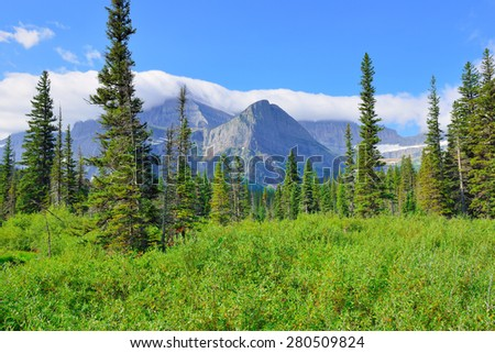 High alpine landscape on the Grinnell Glacier trail in Glacier national park, montana in summer - stock photo