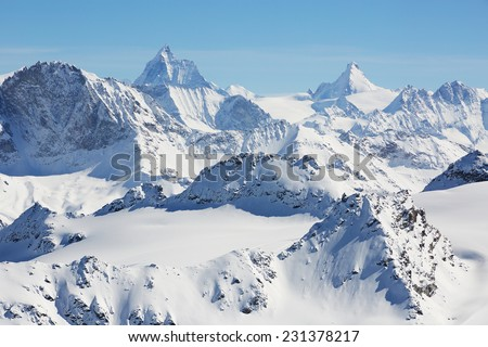 High alpine mountains in Switzerland