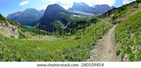 High alpine panoramic landscape of the Grinnell Glacier trail in Glacier national park, montana in summer - stock photo