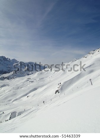 High alpine ski area in French Alps,   Portes du Soleil, France - stock photo