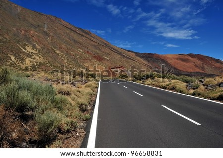 High altitude asphalt road in mountains
