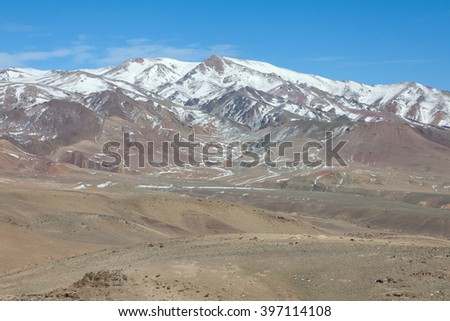 high-altitude desert in early winter - stock photo