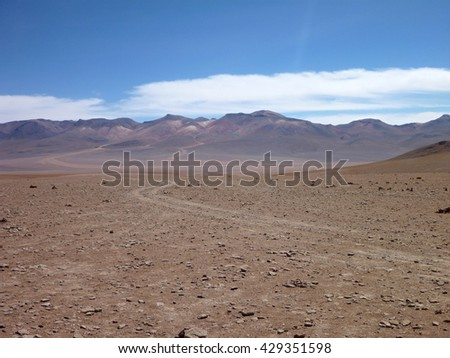 high altitude desierto colorado at bolivia altiplano desert
