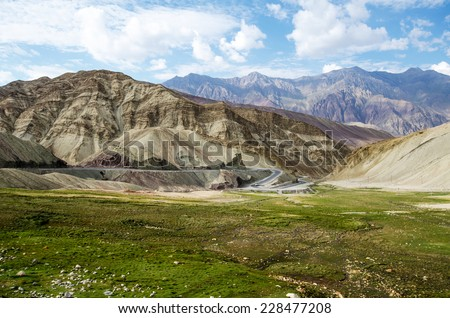 High altitude road in Ladakh, Jammu and Kashmir, India - stock photo