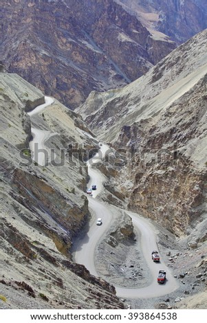 High-altitude road in the Himalayas - Ladakh, Jammu & Kasmir, India  - stock photo
