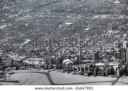 High altitude view of downtown Toronto. Pseudo-HDR image desaturated into black and white. - stock photo