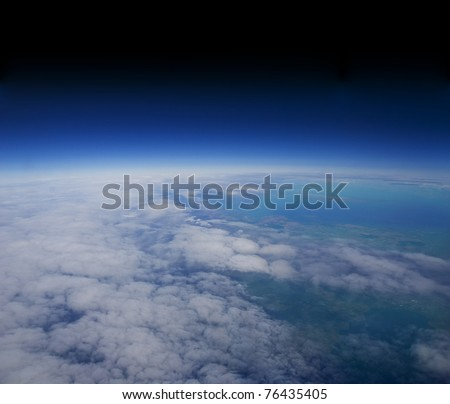 High altitude view of the Earth in space