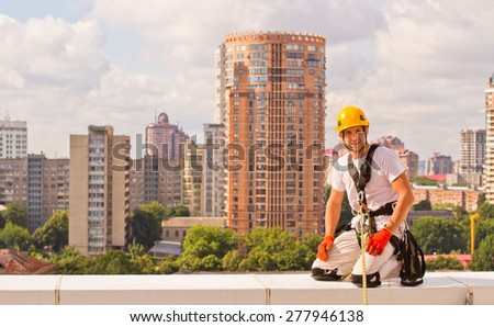 high-altitude work - stock photo