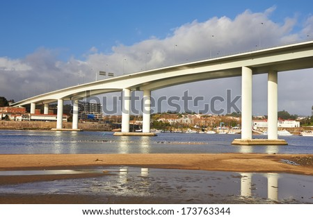 high and long concrete bridge  - stock photo