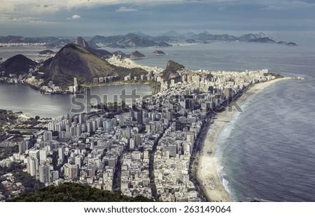 High angle aerial view of big city of Rio de Janeiro, Brazil - stock photo