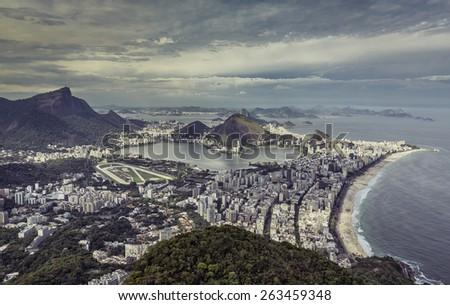 High angle city aerial view of Rio de Janeiro, Brazil - stock photo